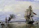 Johan Barthold Jongkind Leaving the Port of Honfleur painting