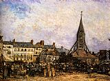 Johan Barthold Jongkind The Market At Sainte - Catherine, Honfleur painting