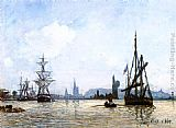 Johan Barthold Jongkind View of Rouen painting