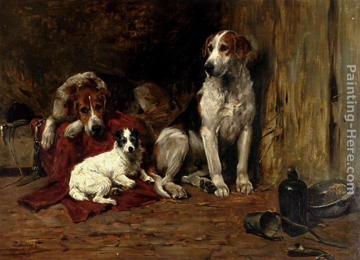 John Emms Hounds And A Jack Russell In A Stable
