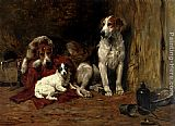 John Emms Hounds And A Jack Russell In A Stable painting