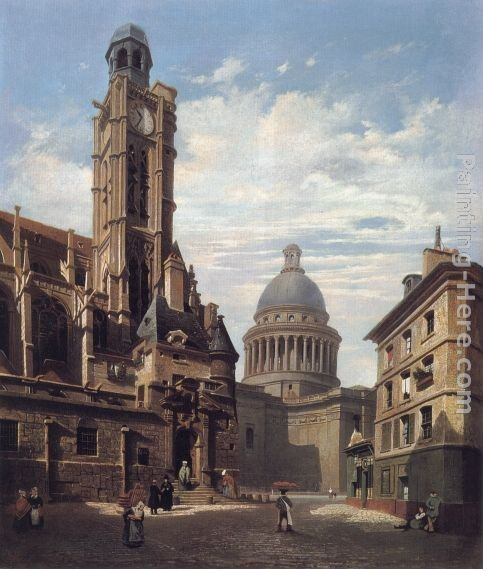Jules Dupre A View of The Pantheon and the Church of