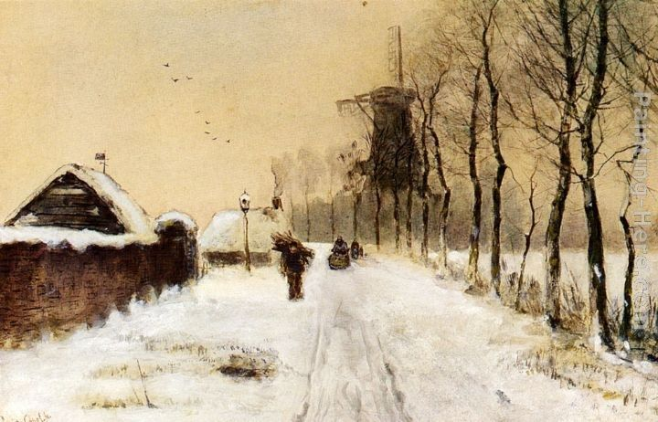 Louis Apol Wood Gatherers On A Country Lane In Winter