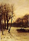 Louis Apol Figures In A Winter Landscape At Dusk painting