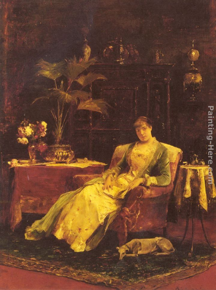 Mihaly Munkacsy A lady seated in an Elegant Interior