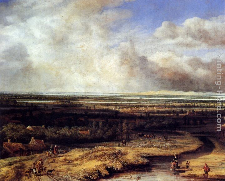 Philips Koninck An Extensive Landscape with a Hawking Party
