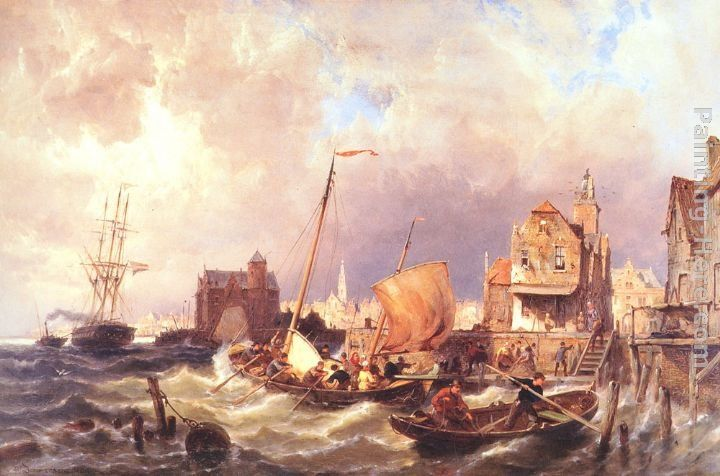 Pieter Christian Dommerson Shipping before a Dutch Harbour Town