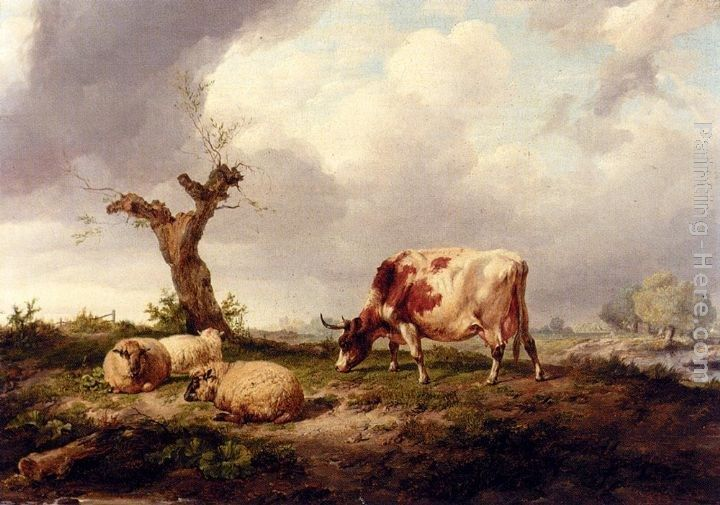 Thomas Sidney Cooper A Cow With Sheep In A Landscape