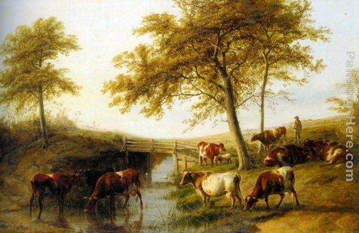 Thomas Sidney Cooper Cattle Resting By A Brook
