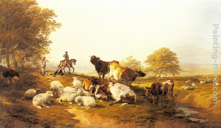Thomas Sidney Cooper Cattle and Sheep Resting in an Extensive Landscape