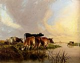 Thomas Sidney Cooper Cattle Watering painting