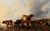 Thomas Sidney Cooper Cattle Wattering painting