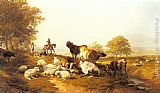 Thomas Sidney Cooper Cattle and Sheep Resting in an Extensive Landscape painting