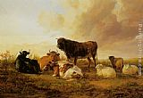 Thomas Sidney Cooper Cattle and Sheep in a Field painting