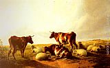 Thomas Sidney Cooper Cattle and Sheep in a Landscape painting