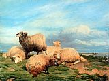 Thomas Sidney Cooper Landscape with Sheep painting