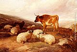 Thomas Sidney Cooper Rams And A Bull In A Highland Landscape painting