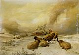 Thomas Sidney Cooper Sheep In A Winter Landscape painting