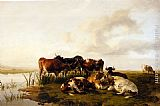 Thomas Sidney Cooper The Lowland Herd painting