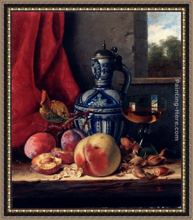 Framed Edward Ladell still life with peaches, whitecurrants, hazelnuts, a glass and a stoneware jug on a wooden ledge with a landscape beyond painting