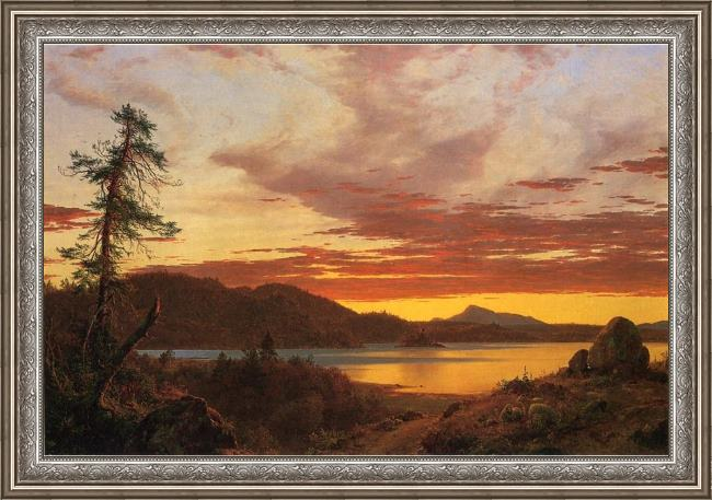 Framed Frederic Edwin Church sunset painting