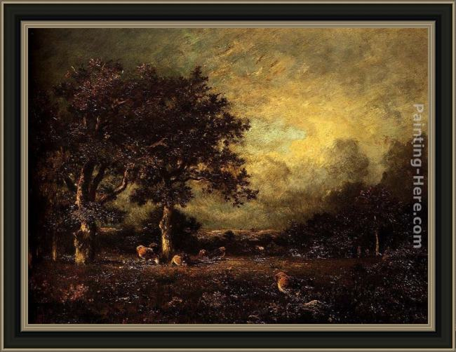 Framed Jules Dupre landscape with cows painting
