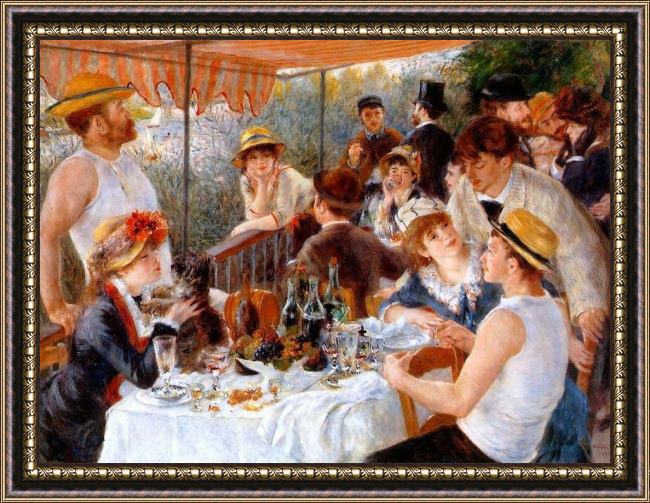 Framed Pierre Auguste Renoir the boating party lunch i painting