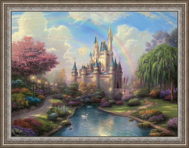 Framed Thomas Kinkade a new day at the cinderella's castle painting