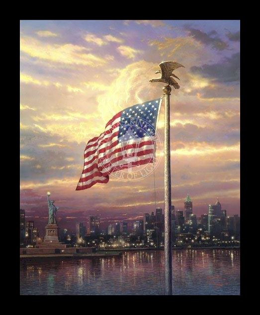 Framed Thomas Kinkade light of freedom painting