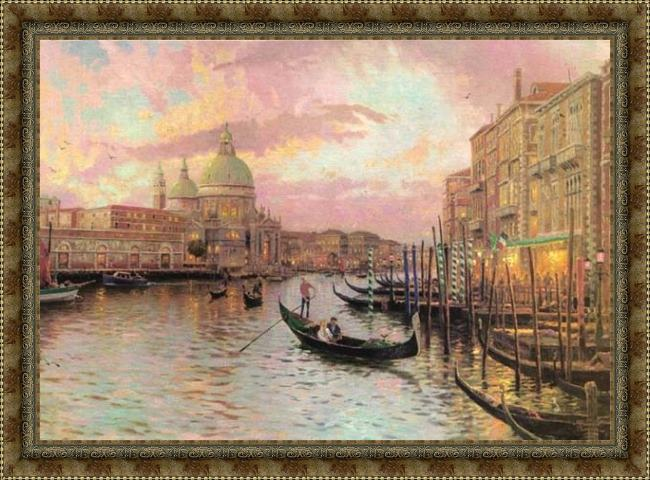 Framed Thomas Kinkade venice painting