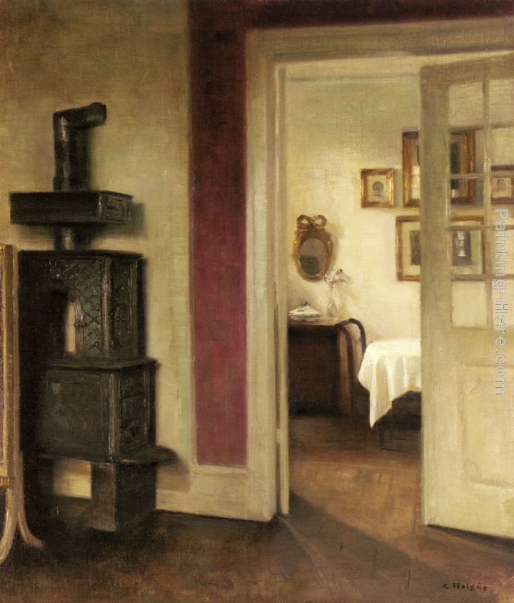 Carl Vilhelm Holsoe An Interior with a Stove and a View into a Dining Room