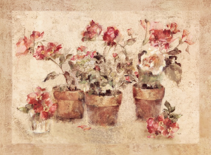 X  Oil On Canvas Painting Of Potted Roses