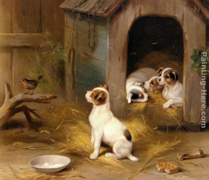 Edgar Hunt The Puppies Painting 50 Off Artexpressws