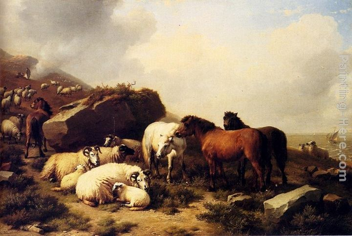 Eugene Verboeckhoven Horses And Sheep By The Coast