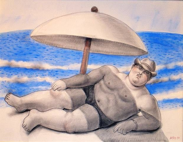 Fernando Botero Man On The Beach
