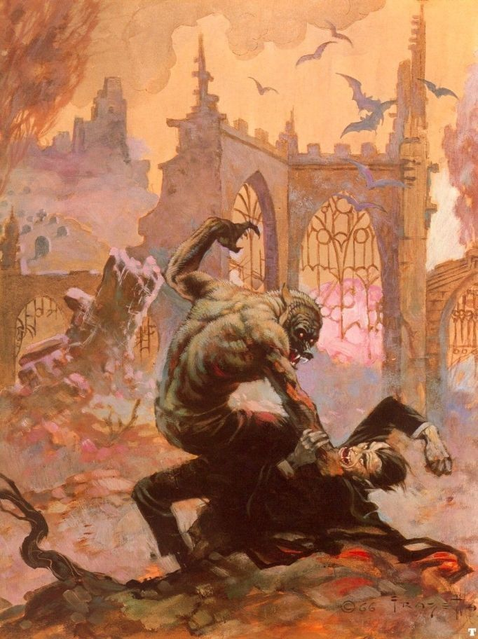Frank Frazetta Dracula Meets the Wolfman