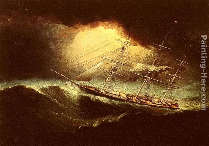 James E. Buttersworth Ship In A Storm