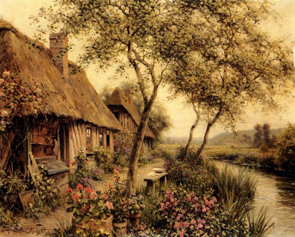 Louis Aston Knight Cottages Beside A River