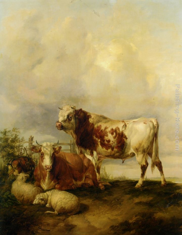Thomas Sidney Cooper A Bull and Cow with Two Sheep and Goat