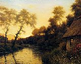 Louis Aston Knight A French River Landscape At Sunset painting