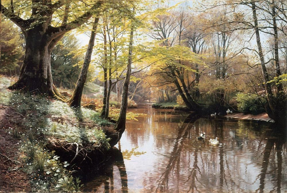 Peder Mork Monsted A River Landscape in Springtime